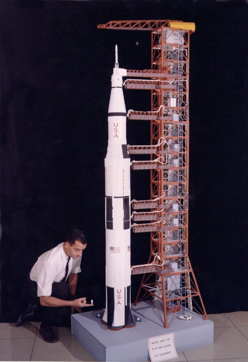 Wally Smallwood with Saturn V model